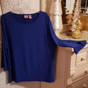 Chico's open work sleeve blouse